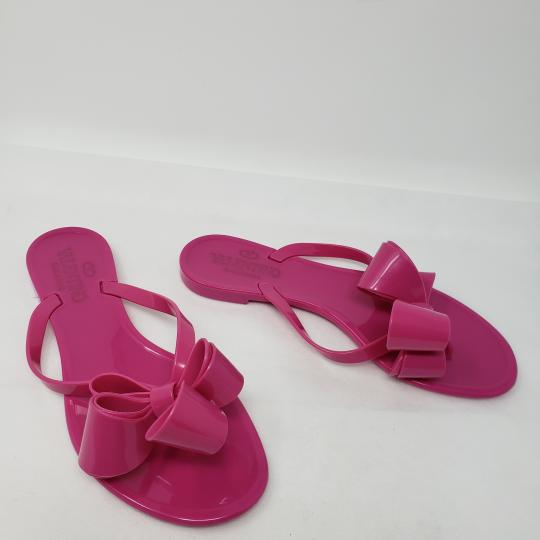 Valentino Jelly Bow Rockstud Lace Gold Hardware Pink Sandals Image 3