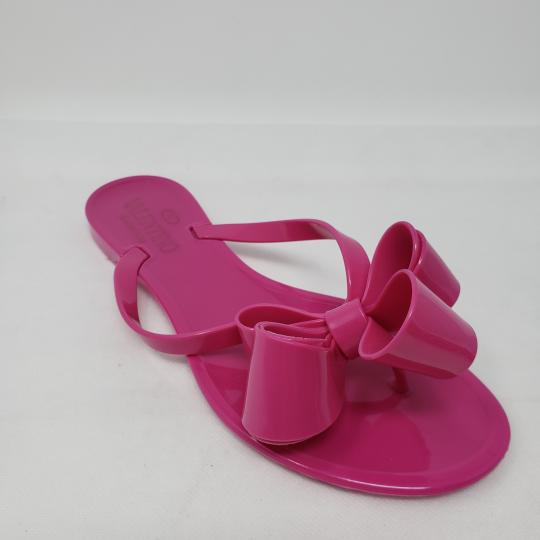Valentino Jelly Bow Rockstud Lace Gold Hardware Pink Sandals Image 4