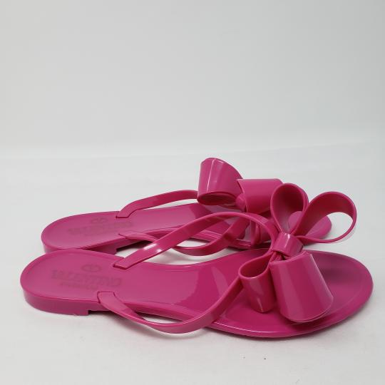 Valentino Jelly Bow Rockstud Lace Gold Hardware Pink Sandals Image 5