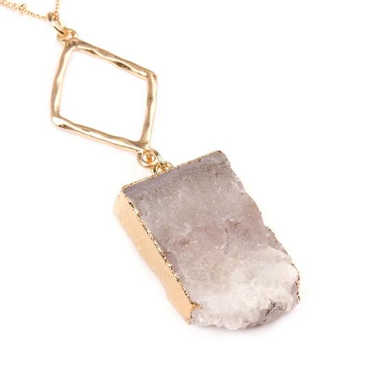 Riah Fashion Natural Druzy Stone Pendant Necklace Image 1