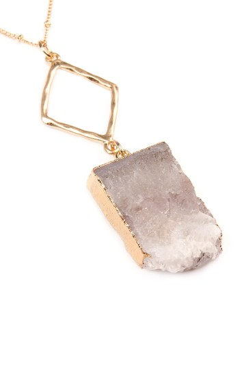 Riah Fashion Natural Druzy Stone Pendant Necklace Image 2