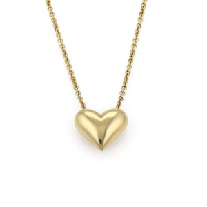 Tiffany & Co. Classic 18k Yellow Gold Puffed Heart Pendant & Chain