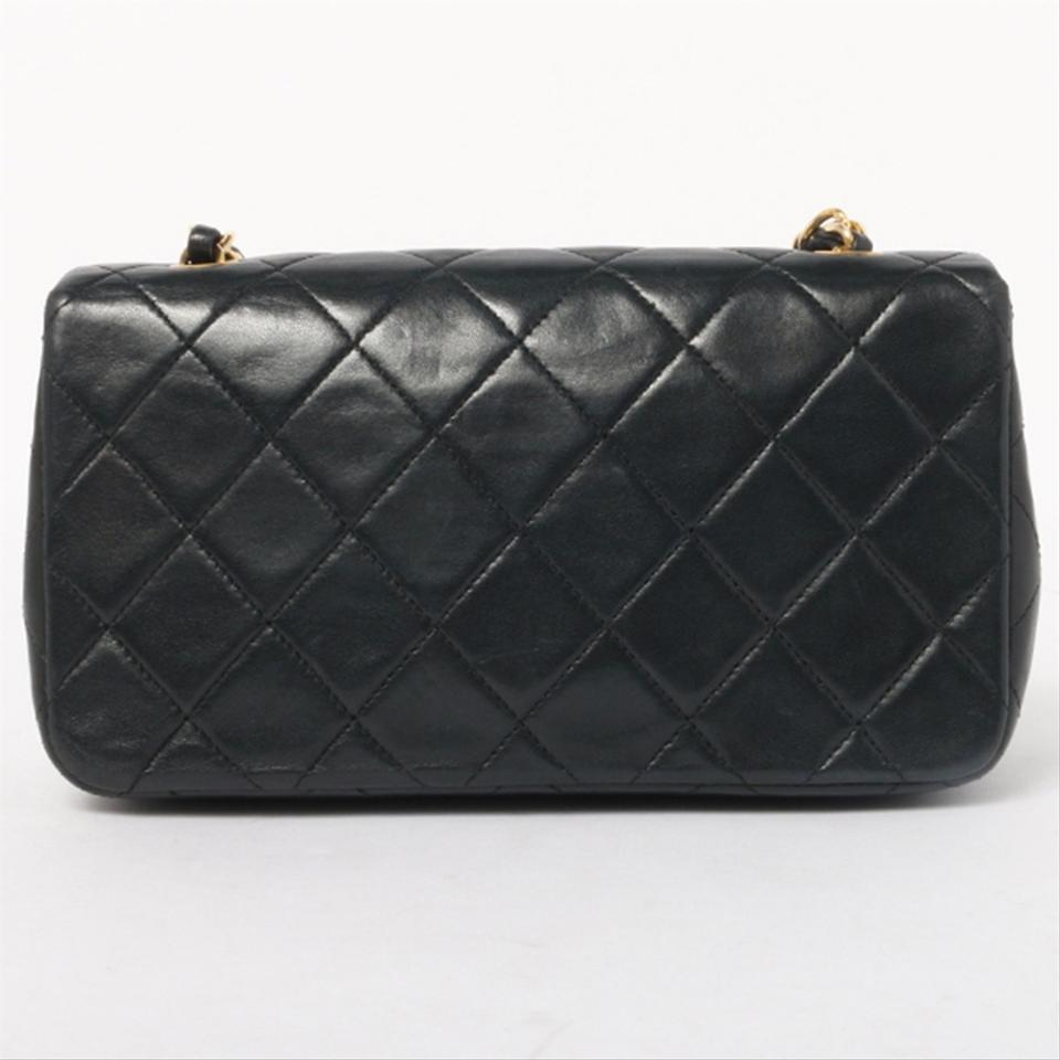 187f50db945b Chanel Vintage Quilted Small Single Flap Black Lambskin Leather Shoulder Bag