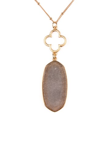 Riah Fashion Faceted Oval Stone Pendant Image 2