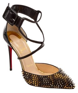 Christian Louboutin Spike Gold Hardware Patent Leather Ankle Strap Suzanna Black Pumps