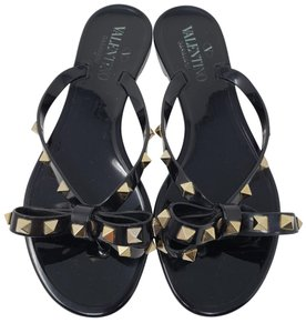 Valentino Rockstud Gold Hardware Jelly Bow Studded Black Sandals