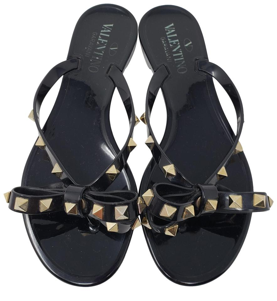 a0178dae18dac5 Valentino Black Jelly Rockstud Bow Slide Sandals. Size  EU 36 (Approx. US 6)  ...