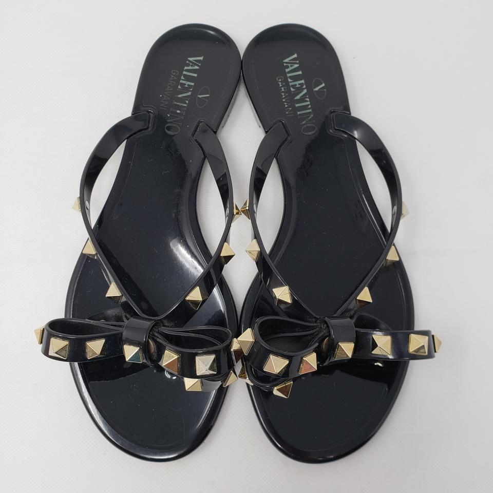 57d9eb5b8 Valentino Black Jelly Rockstud Bow Slide Sandals Size EU 36 (Approx. US 6)  Regular (M