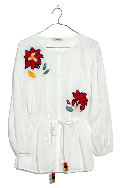Preload https://img-static.tradesy.com/item/24406616/madewell-white-and-red-multi-flower-embroidered-babydoll-shirt-blouse-size-8-m-0-0-650-650.jpg