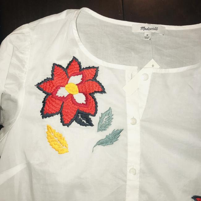 Madewell Top White & Red Multi Image 2