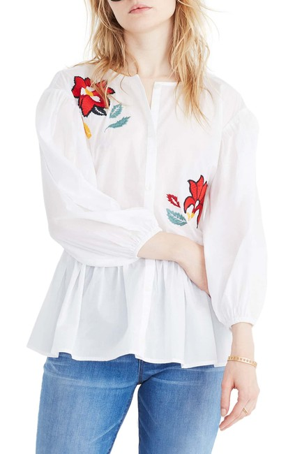 Madewell Top White & Red Multi Image 3