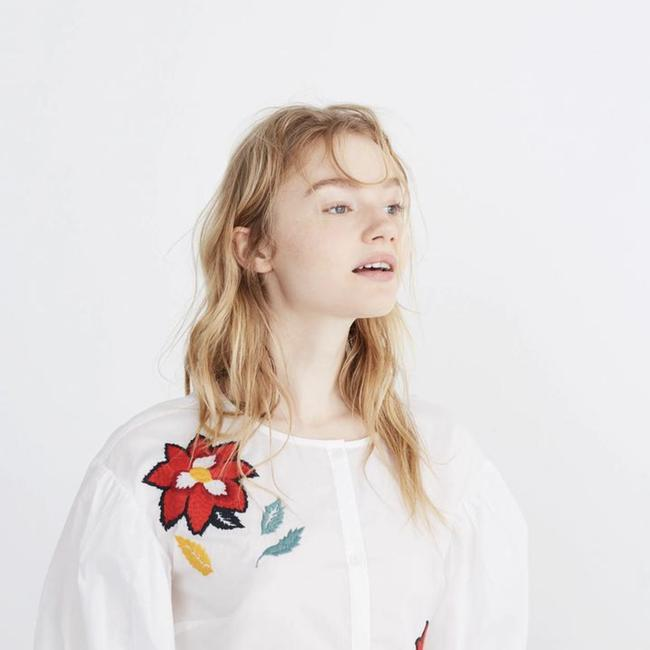 Madewell Top White & Red Multi Image 4