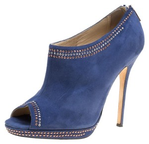 Jimmy Choo Suede Ankle Peep Toe Leather Blue Boots