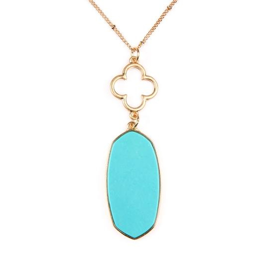 Riah Fashion Faceted Oval Stone Pendant Image 1