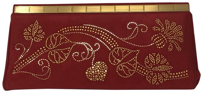 Item - Metallic Red Suede Leather Clutch