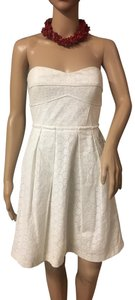 Chequer short dress White Strapless Concealed Corset Pointille Lace Pockets Sweetheart Neckline on Tradesy