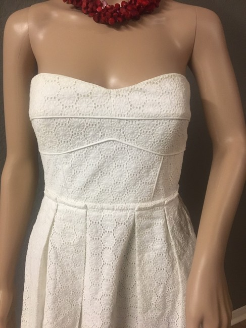 Chequer short dress White Strapless Concealed Corset Pointille Lace Pockets Sweetheart Neckline on Tradesy Image 6