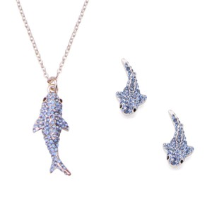 Kate Spade California Dreaming Shark Necklace & Earrings Set