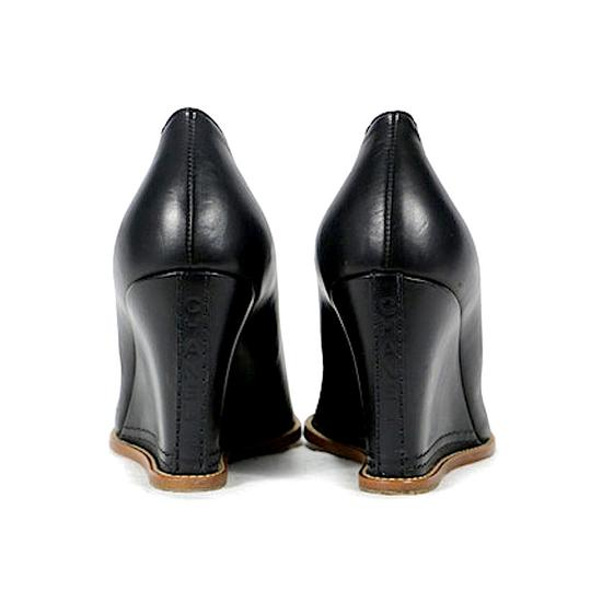 Chanel Wedges Leather Sturdy Black Pumps Image 4