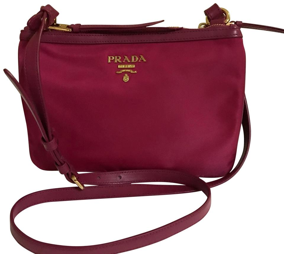 d1afb3fe50 Prada 1bh046 Tessuto+soft Ca Ibisco Pink Nylon Cross Body Bag - Tradesy