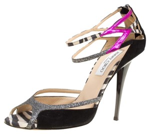 Jimmy Choo Suede Glitter Ankle Strap Black Sandals