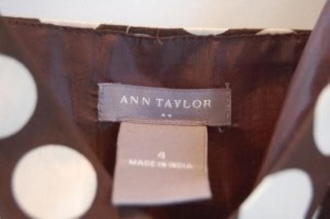 Ann Taylor Top Brown with cream polka dots
