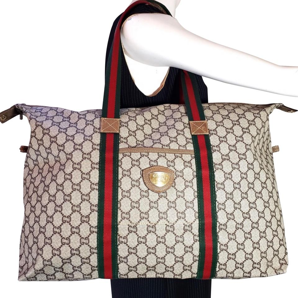0ad3bef4f07 Gucci Coated Canvas Tote Weekend Travel Bag - Tradesy