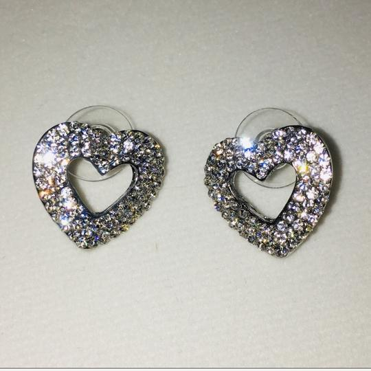 Eve St. Claire 14k White Gold plated heart pave CZ diamond earrings Image 2