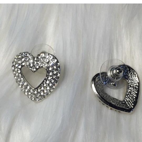 Eve St. Claire 14k White Gold plated heart pave CZ diamond earrings Image 3
