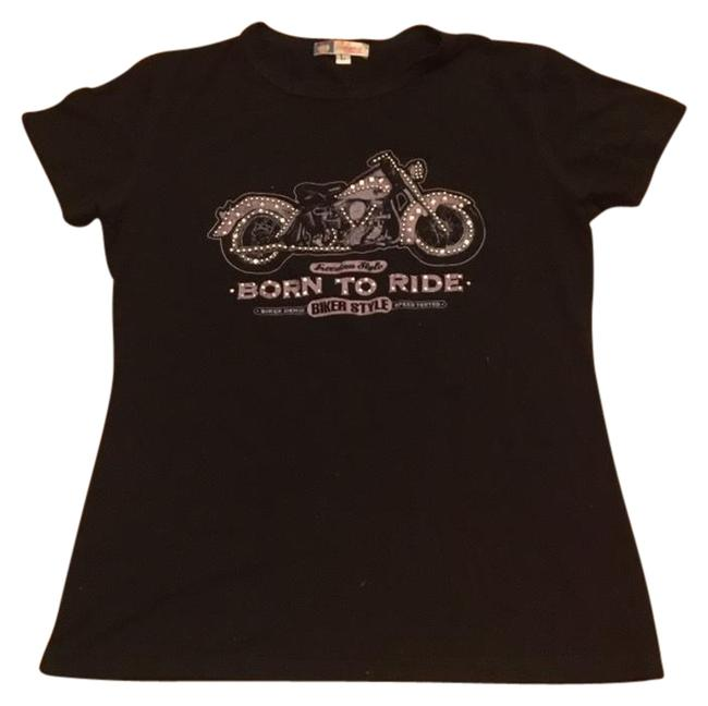 Item - Black Motorcycle Stone Tee Shirt Size 16 (XL, Plus 0x)