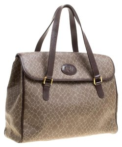 Nina Ricci Canvas Leather Satchel in Brown