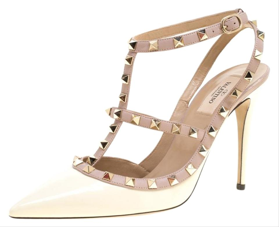 7c55841c25837d Valentino White And Beige Patent Leather Rockstud Sandals Size EU ...