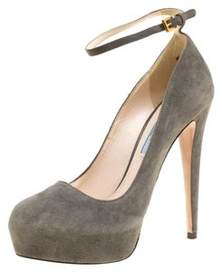 Prada Suede Ankle Strap Pumps Grey Flats