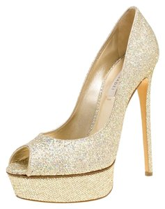 Casadei Glitter Lame Fabric Leather Gold Pumps