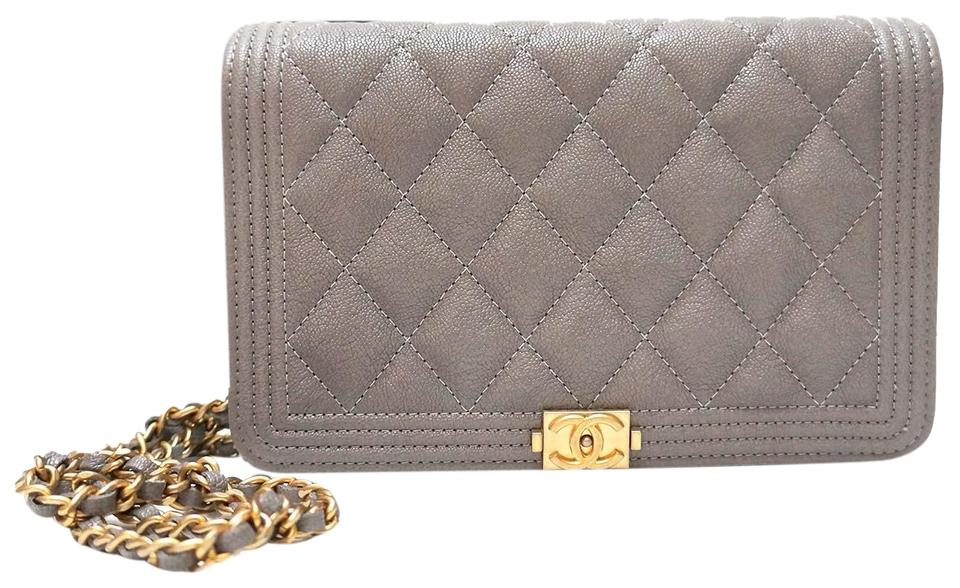 4af4a957362a1a Chanel Boy Woc Grey Messenger Bag ... Chanel Wallet on Chain Caviar Stamp