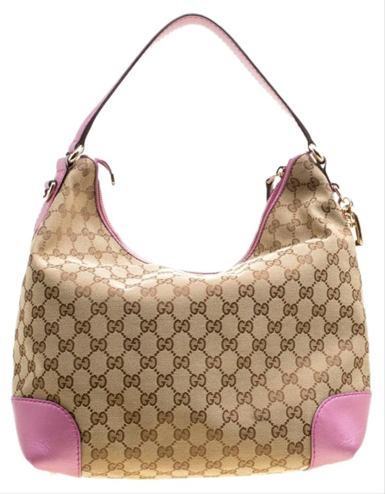 277fa04e9d32 Gucci Beige Pink Gg Canvas and Medium Heart Beige Leather Hobo Bag ...