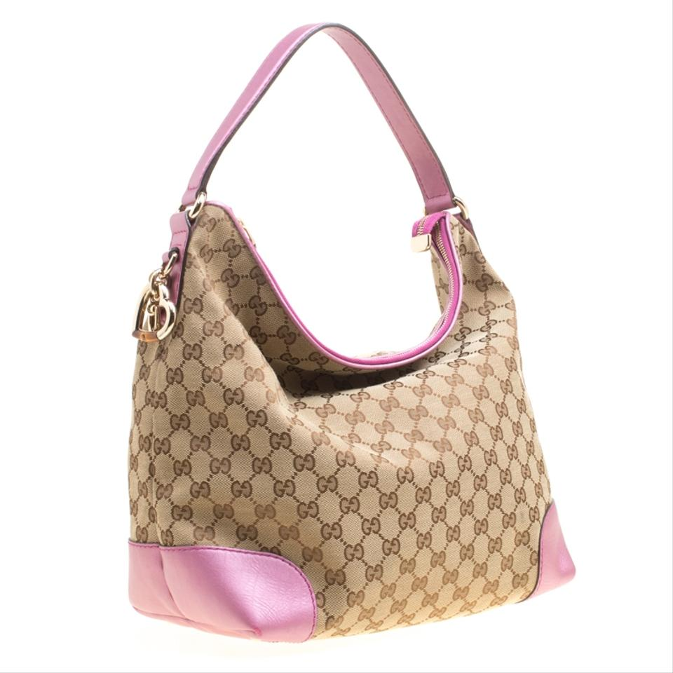 005a9ab3e3fd Gucci Beige Pink Gg Canvas and Medium Heart Beige Leather Hobo Bag - Tradesy