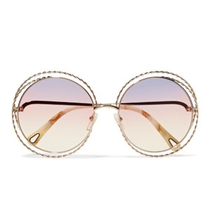 Chloé Carlina round frame gold sunglasses