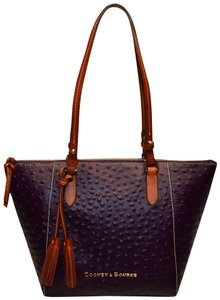 Dooney & Bourke Leather Maxine Ostrich Tote in Plum Wine