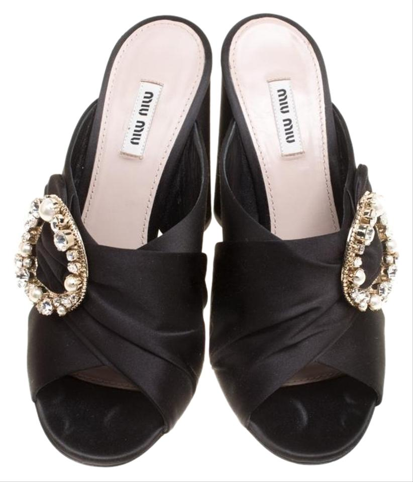 67ab204fd1b Miu Miu Black Satin Crystal and Faux Pearl Embellished Brooch Peep Toe  Mules S Pumps. Size  EU 40 ...