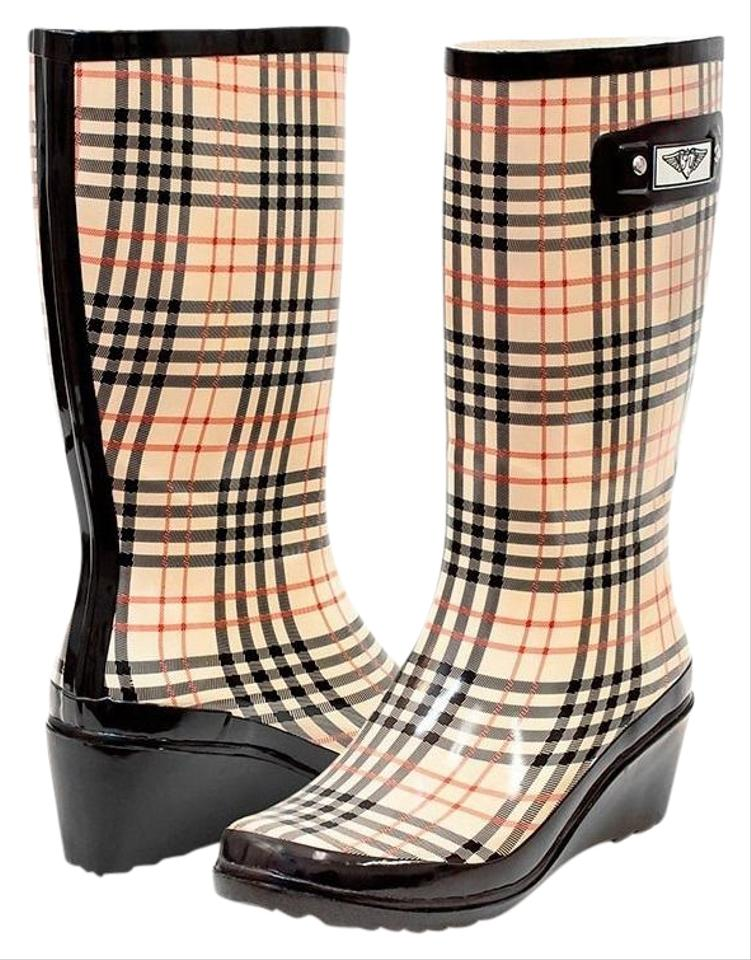 81fe0c33473 Forever Young Checkered Plaid Rubber Rainboots For Women #3100  Boots/Booties Size US 11 Regular (M, B) 40% off retail