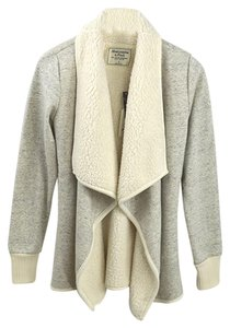 Abercrombie & Fitch Faux Fur Fall Winter Grey/Ivory Jacket