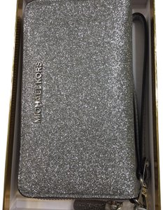 Michael Kors Silver Glitter Giftables Large Leather Wallet Wristlet Clutch