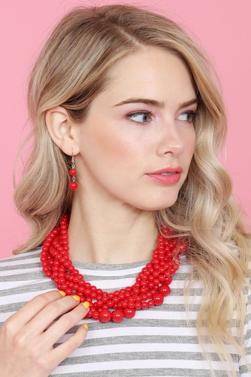 Riah Fashion Multi Strand Bubble Choker Necklace and Earring Set Image 2