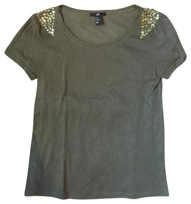 Item - Green Embellished Beaded Crystal T-shirt Tee Shirt Size 2 (XS)