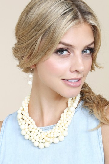 Riah Fashion Multi Strand Bubble Choker Necklace and Earring Set Image 3