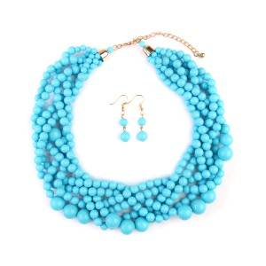 Riah Fashion Multi Strand Bubble Choker Necklace and Earring Set