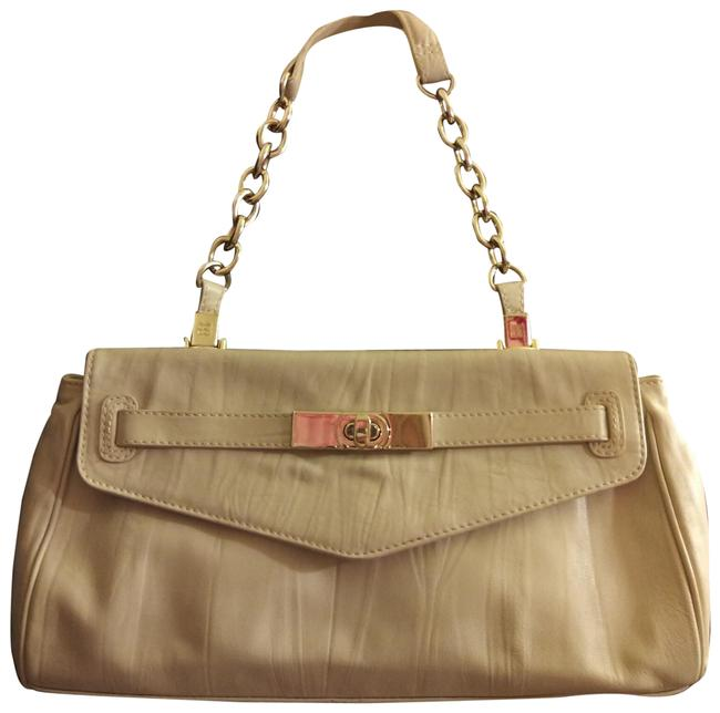 Item - With Gold Details and Chain Strap Taupe Vinyl Shoulder Bag