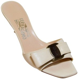 Salvatore Ferragamo Low Heel All Leather Never Out Of Style. Cream Sandals