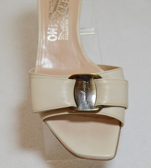 Salvatore Ferragamo Low Heel All Leather Never Out Of Style. Cream Sandals Image 1